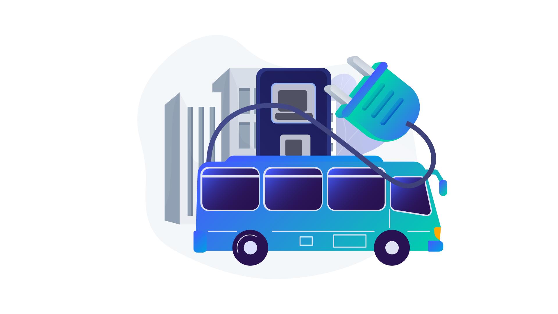 electric bus artwork