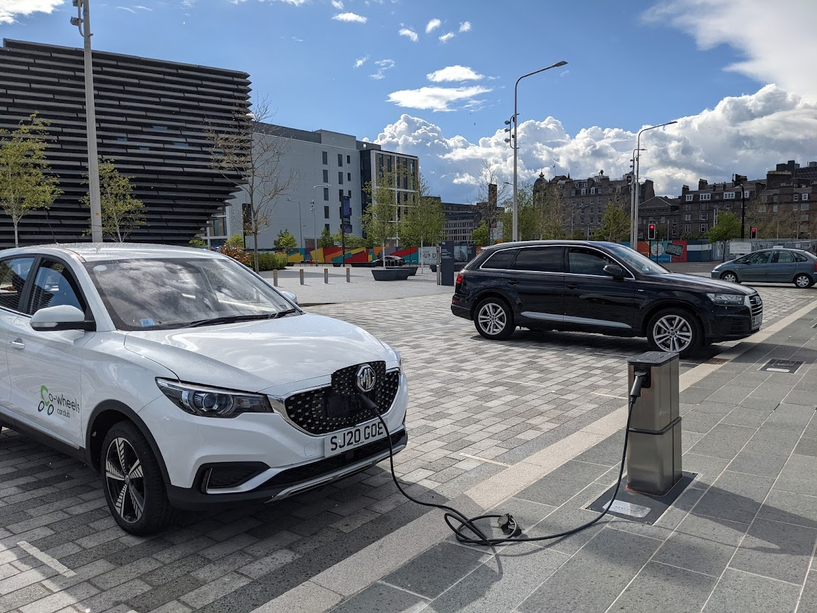 Clean Streets Pop up Charger in front of V&A in Dundee